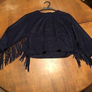 Zara 3/4 fringed cropped T shirt